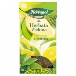 HERBAPOL Herbata zielona liściasta z cytryną 80 g